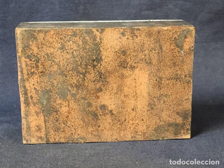 Antigüedades: plancha grabado zinc excavada constructores piano expo musica 2,5x8x5,5cms - Foto 5 - 73678895
