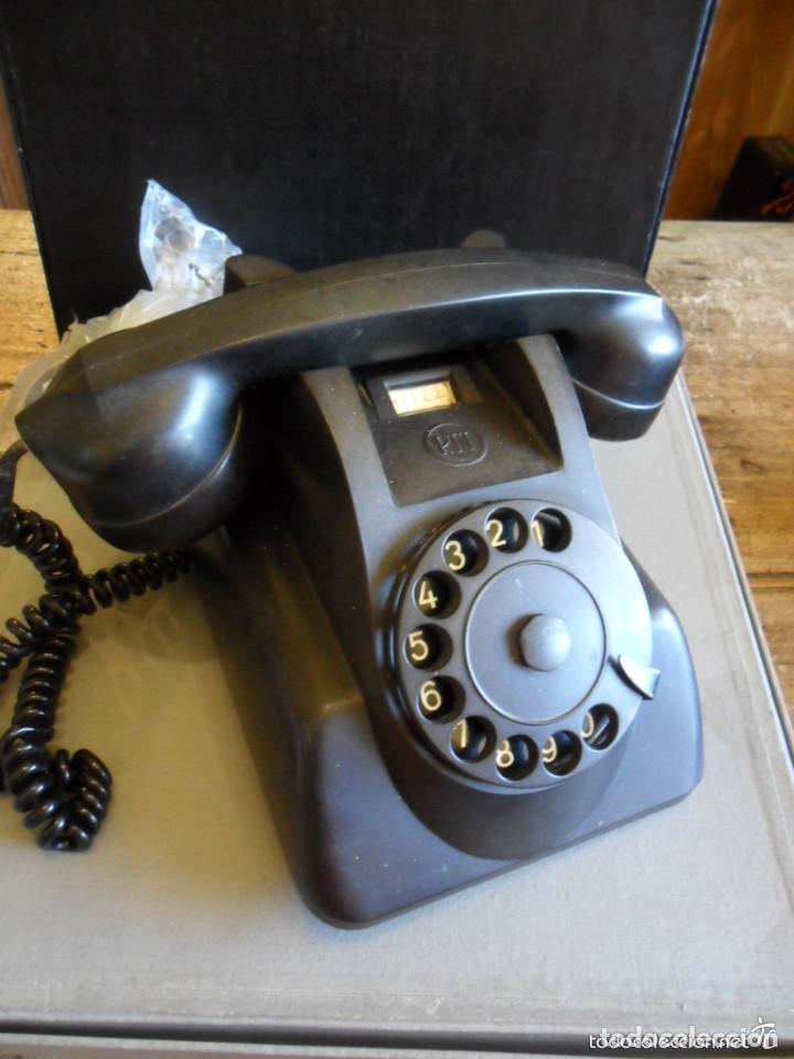 TELÉFONO DE SOBREMESA EN BAQUELITA NEGRO - PTT - ANTIGUO (Antigüedades - Técnicas - Teléfonos Antiguos)