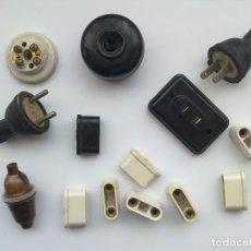 LOTE 14 ELEMENTOS MATERIAL ELECTRICO ANTIGUO, ELECTRICIDAD, BAQUELITA, (TODO LO FOTOGRAFIADO)