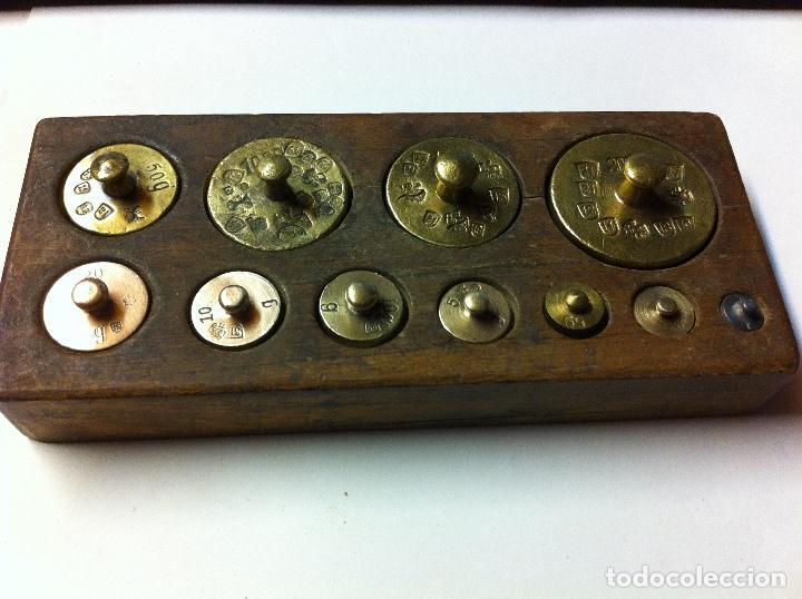 BONITO JUEGO DE ANTIQUISIMAS PESAS DE BRONCE DESDE 200 G HASTA 1 G (J01) (Antigüedades - Técnicas - Medidas de Peso - Ponderales Antiguos)