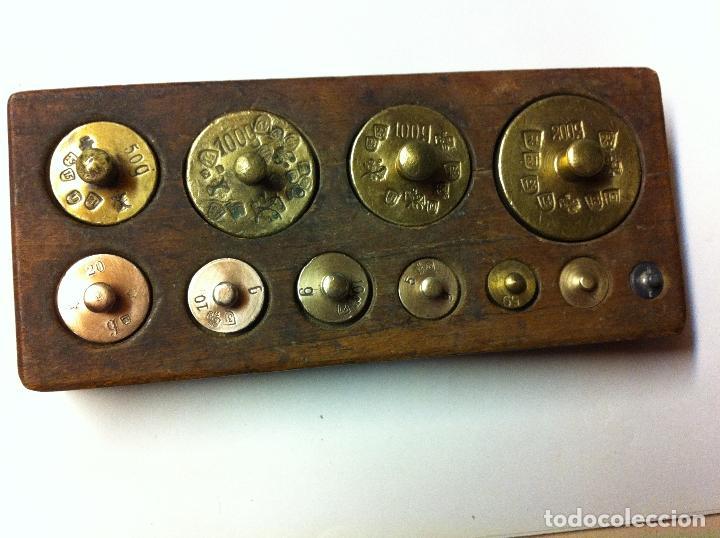 Antigüedades: BONITO JUEGO DE ANTIQUISIMAS PESAS DE BRONCE DESDE 200 G HASTA 1 g (J01) - Foto 2 - 74213255