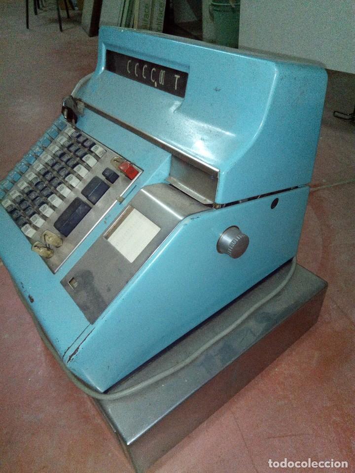 CAJA REGISTRADORA HUGIN EN BUENO ESTADO EXTERIOR AÑOS 70 (Antigüedades - Técnicas - Aparatos de Cálculo - Cajas Registradoras Antiguas)