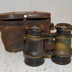 Antigüedades: ANTIGUOS BINOCULARES CON FUNDA DE PIEL, BUENA VISIÓN, ORIGINALES. HACIA 1900.. Lote 75608075