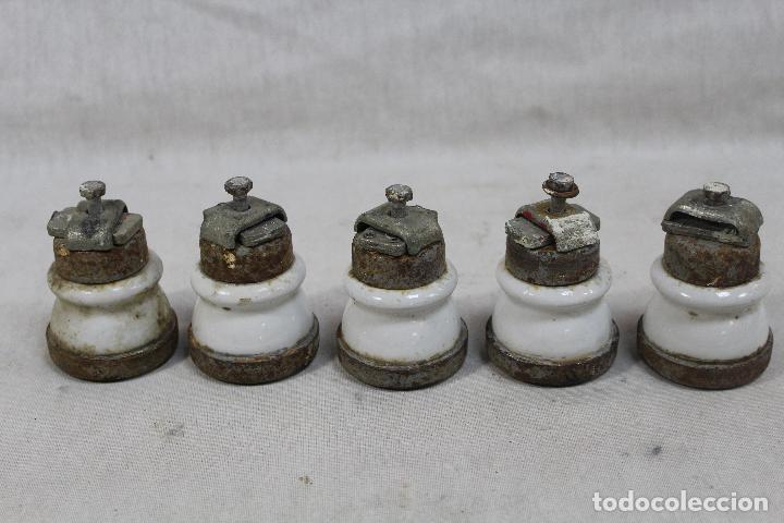 Antigüedades: electricidad - lote de 6 fusibles - porcelana / metal - Foto 3 - 75660543
