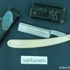 Antigüedades: NAVAJA ANTIGUA SOLINGEN CON MANGO DE MARFIL Y ESTUCHE NEGRO 17X3 CM NAVAJA EN BUEN ESTADO F423. Lote 99409835