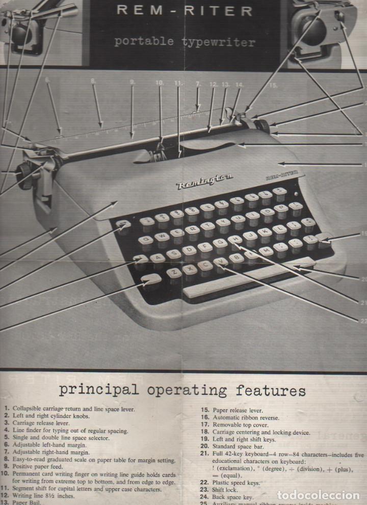 CATALAGO DE DE LA MAQUIN DE ESCRIBIR REMINGTON RAND REM RITER - PORTABLE TYPEWRITER (Antigüedades - Técnicas - Máquinas de Escribir Antiguas - Remington)