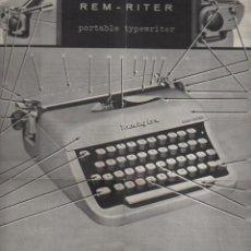 Antigüedades: CATALAGO DE DE LA MAQUIN DE ESCRIBIR REMINGTON RAND REM RITER - PORTABLE TYPEWRITER. Lote 76010031