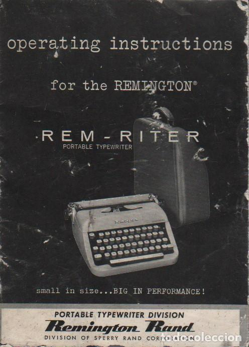 Antigüedades: catalago de de la maquin de escribir remington rand rem riter - portable typewriter - Foto 2 - 76010031