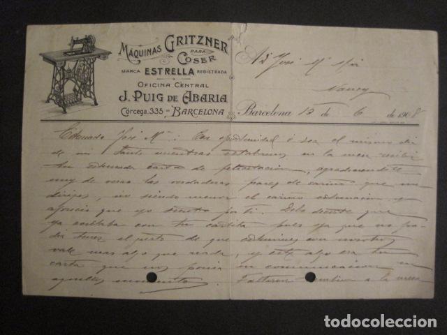 MAQUINAS COSER GRITZNER - MARCA ESTRELLA -PAPEL DE CARTA AÑO 1908 - VER FOTOS -(V-9040) (Antigüedades - Técnicas - Máquinas de Coser Antiguas - Otras)