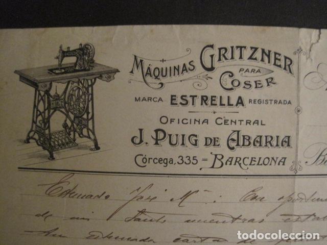 Antigüedades: MAQUINAS COSER GRITZNER - MARCA ESTRELLA -PAPEL DE CARTA AÑO 1908 - VER FOTOS -(V-9040) - Foto 2 - 76166971