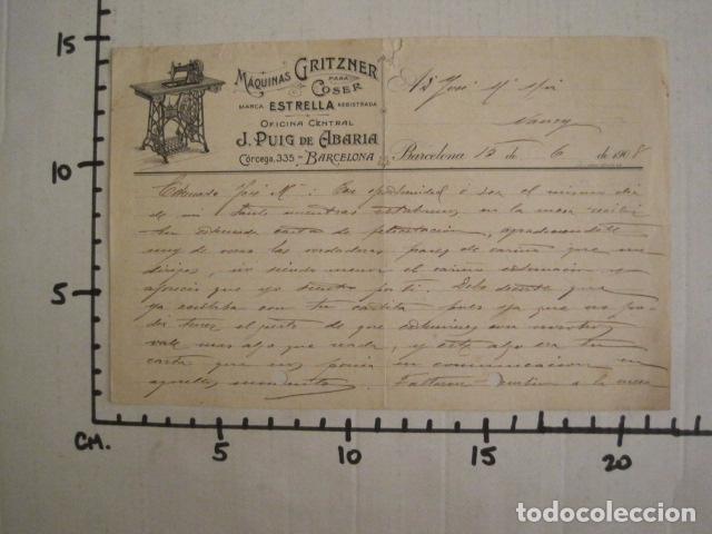 Antigüedades: MAQUINAS COSER GRITZNER - MARCA ESTRELLA -PAPEL DE CARTA AÑO 1908 - VER FOTOS -(V-9040) - Foto 4 - 76166971