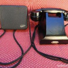 Teléfonos: ANTIGUO TELEFONO DE BAQUELITA FABRICADO EN MADRID POR LA MARCA L.M.ERICSSON. CON SU CAJA DE TIMBRES.. Lote 76622751