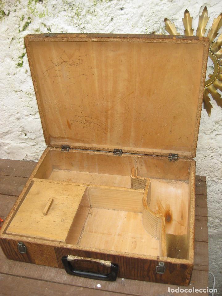Antigüedades: PRECIOSA CAJA MALETIN USO O DECORACION INDUSTRIAL PARA TALADROS Y BROCAS EN MADERA AÑOS 40 - Foto 3 - 76630595