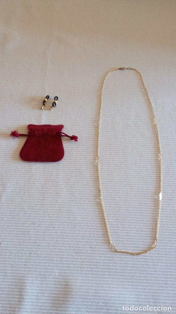Antigüedades: CADENA PARA GAFAS - COLLAR (Lleva otro cierre para transformar para ese uso baño de oro - ESTRENAR - Foto 3 - 76948997
