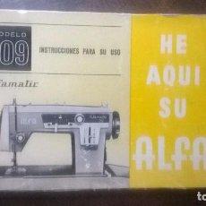 Antigüedades: MANUAL INSTRUCCIONES MAQUINA COSER ALFA, ALFAMATIC MODELO 109. Lote 162114545