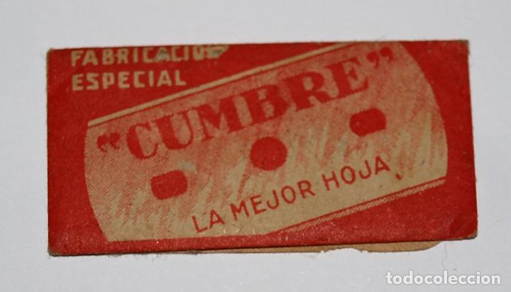 HOJA DE AFEITAR CUMBRE. FABRICACION ESPAÑOLA. 0,25 PTAS. SIN USO, EN SU FUNDA SIN ABRIR. (Antigüedades - Técnicas - Barbería - Hojas de Afeitar Antiguas)