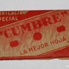 Antigüedades: HOJA DE AFEITAR CUMBRE. FABRICACION ESPAÑOLA. 0,25 PTAS. SIN USO, EN SU FUNDA SIN ABRIR.. Lote 77377653