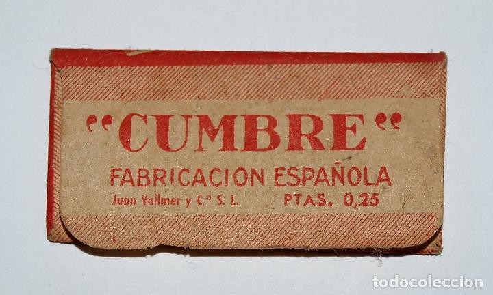 Antigüedades: HOJA DE AFEITAR CUMBRE. FABRICACION ESPAÑOLA. 0,25 PTAS. SIN USO, EN SU FUNDA SIN ABRIR. - Foto 2 - 77377653