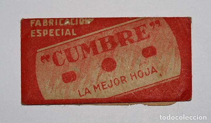 Antigüedades: HOJA DE AFEITAR CUMBRE. FABRICACION ESPAÑOLA. 0,25 PTAS. SIN USO, EN SU FUNDA SIN ABRIR. - Foto 6 - 77377653