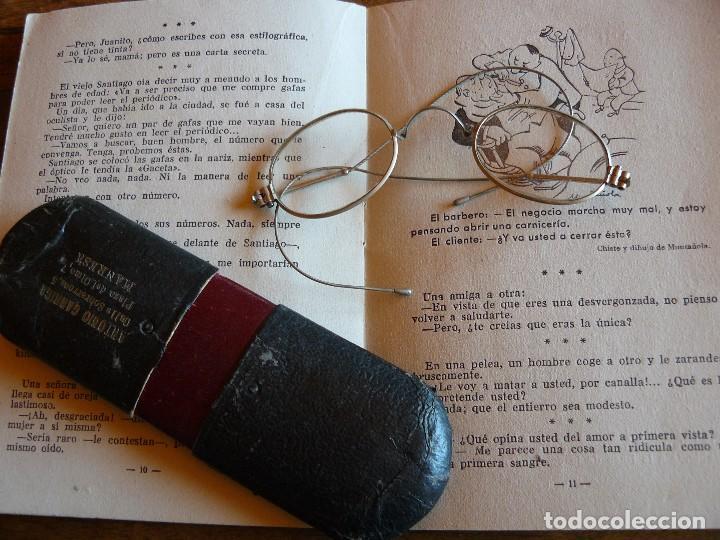 GAFAS ANTIGUAS TIPO QUEVEDO CON PATILLAS FLEXIBLES -ÒPTICA ANTONIO GARRIGA MANRESA (Antigüedades - Técnicas - Instrumentos Ópticos - Gafas Antiguas)