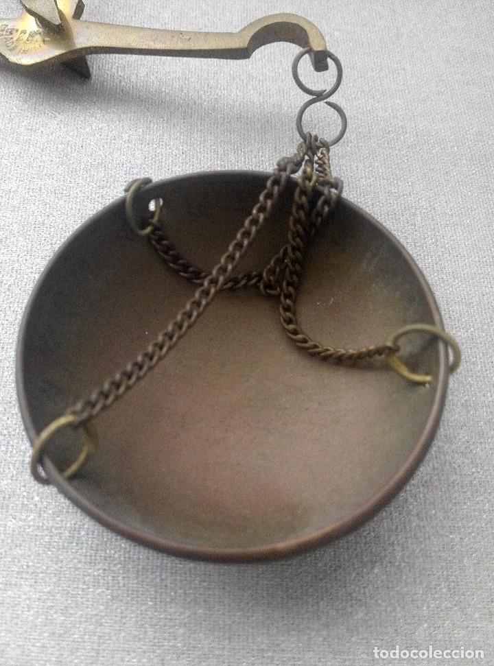 Antigüedades: PRECIOSA BALANZA CON SUS PESAS SOBRE BASE - Foto 8 - 77951849