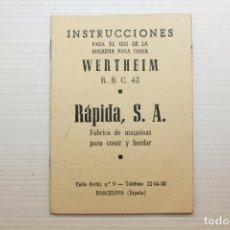 Antigüedades: INSTRUCCIONES PARA EL USO DE LA MÁQUINA DE COSER WERTHEIM R.B.C. 43. Lote 136411385
