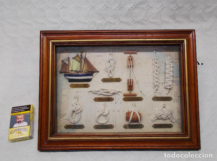 PRECIOSO CUADRO DE NUDOS MARINEROS (Antigüedades - Antigüedades Técnicas - Marinas y Navales)