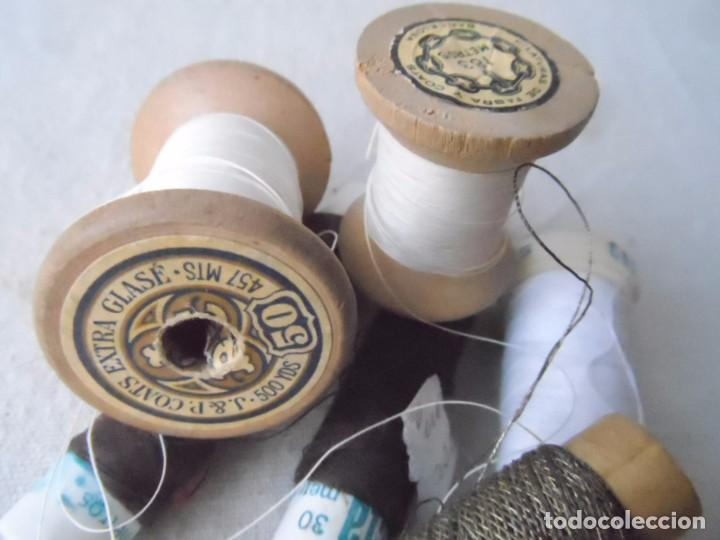 Antigüedades: HILO carretes bobina madera para coser bordar maquina HILO METALICO LOTE DE LA FOTO - Foto 4 - 182239045