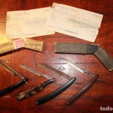 Antigüedades: LOTE DE BARBERO BARBERIA - NAVAJA CAJA JOSE MONSERRAT POU SOLINGEN RECIBOS SINDICATO PELUQUERIA. Lote 78455789