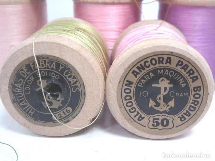 Antigüedades: LOTE 10X CARRETE MADERA-BOBINA HILO ALGODON- FABRA & COATS ANCORA ¡¡POCO USO¡¡ PARA BORDAR MAQUINA - Foto 4 - 79705893