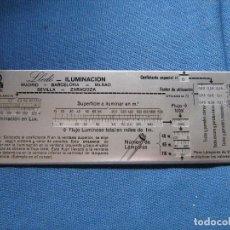 Antigüedades: ANTIGUA REGLA DE ALUMINIO PARA MEDIR ILUMINACION - PUBLICIDAD LLEDÓ. Lote 79844793