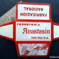 Antigüedades: HOJA DE AFEITAR ANTIGUA-FERRETERIA ANASTACIO-DE MURCIA-VINTAGE. Lote 82119196
