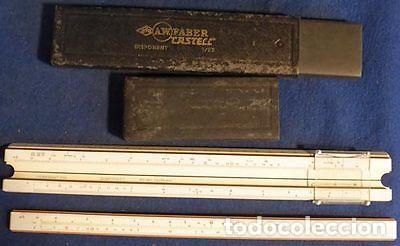REGLA CALCULO 2 A.W. FABER CASTELL 1 87 SISTEMA RIETZ-MADERA-REGLA CALCULO SLIDE RULE (Antigüedades - Técnicas - Aparatos de Cálculo - Reglas de Cálculo Antiguas)