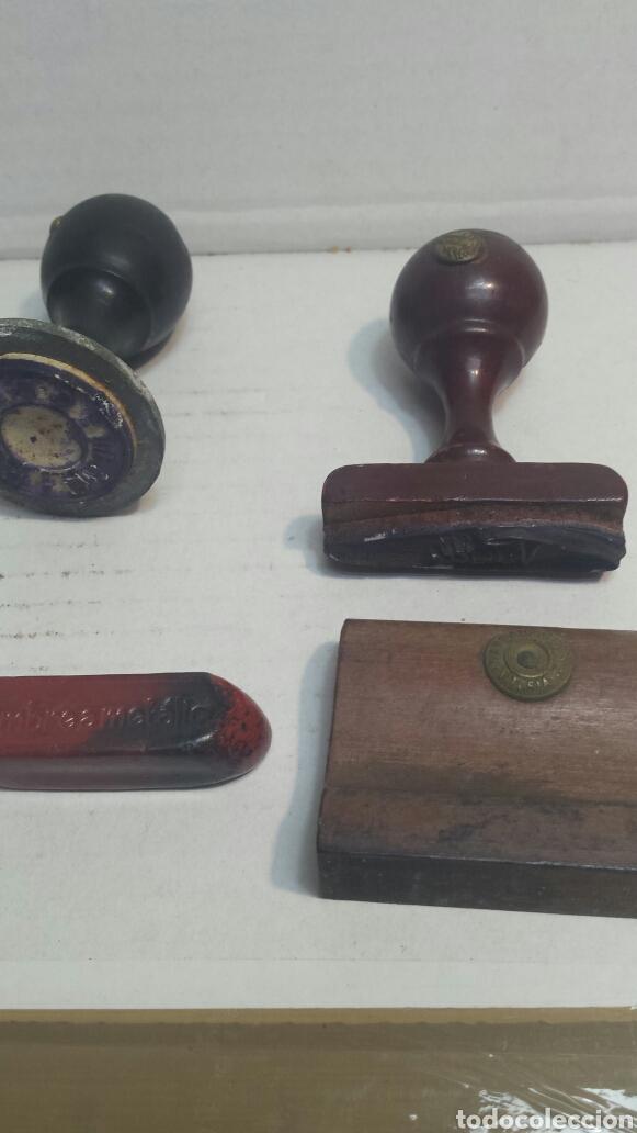 Antigüedades: Lote tampones y barra selladora cartas muy antigua - Foto 2 - 80267199