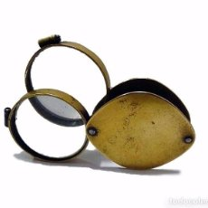 Antigüedades: ANTIGUA LUPA DOBLE PLEGABLE O BOLSILLO DE METAL DORADO - PRINCIPIOS S.XX. Lote 56467277