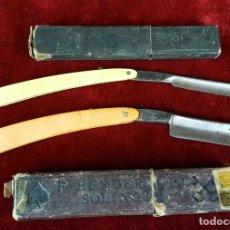 Antigüedades: PAREJA DE NAVAJAS DE AFEITAR. FUNDAS ORIGINALES. SOLINGEN. ALEMANIA. CIRCA 1950. . Lote 81307480