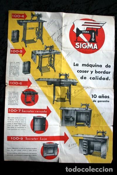 Antigüedades: CATALOGO MAQUINA COSER SIGMA - DESPLEGABLE - Foto 3 - 81703780