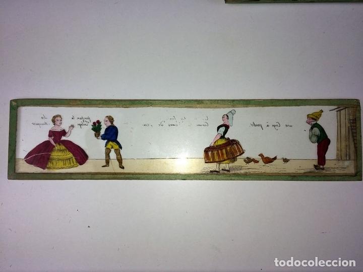 Antigüedades: CRISTALES PARA LINTERNA MÁGICA. CON FÁBULAS. FRANCIA. ALEMANIA. CIRCA 1850 - Foto 9 - 81997188