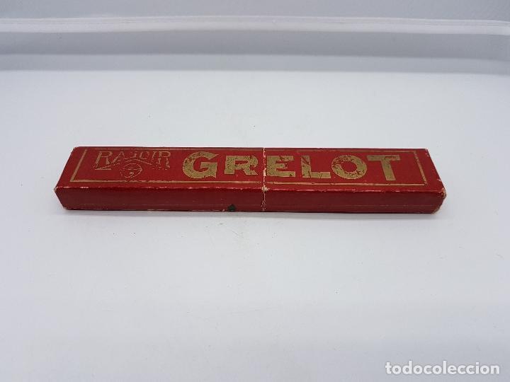 Antigüedades: Navaja de afeitar antigua francesa en su caja pone grelot en buen estado de conservación. - Foto 5 - 82417632