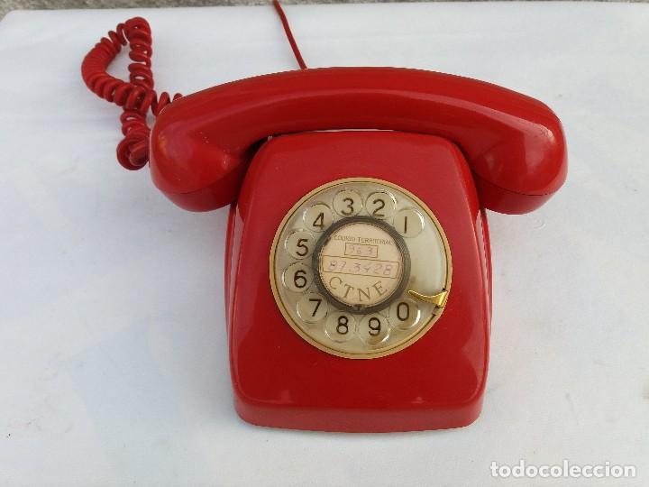TELÉFONO HERALDO ROJO CITESA MÁLAGA ADAPTADO A RED (Antigüedades - Técnicas - Teléfonos Antiguos)