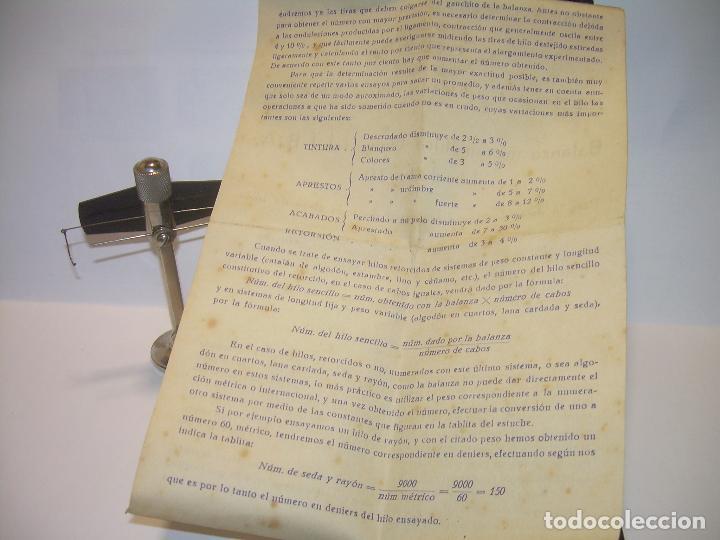 Antigüedades: ANTIGUA BALANZA MICROMETRICA PARA PESAR HILOS... CON SU CAJA ORIGINAL. - Foto 5 - 82779868