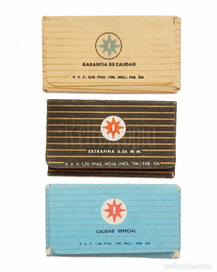 Antigüedades: LOTE 3 FUNDAS HOJAS HOJA CUCHILLAS DE AFEITAR PLUMA AZUL BLANCA Y NEGRA (CONTIENEN LAS HOJAS) - Foto 2 - 82891284