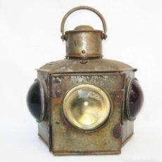 Antigüedades: DE MUSEO! LAMPARA ANTIGUA FAROL DE BARCO XVIII-XIX METAL Y 3 CRISTALES DECORACION NAUTICA STARBOARD. Lote 82960324