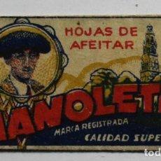 Antigüedades: FUNDA HOJA DE AFEITAR MANOLETE, MUY RARA, RAZOR BLADE, LAMETTA DA BARBA, ENVOLTORIO. Lote 83000396