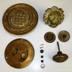 Antigüedades: CONJUNTO DE MIRILLA. ALDABA Y TIMBRES. ESTILO NEOCLÁSICO. BRONCE. ESPAÑA.FIN XIX. Lote 54649835