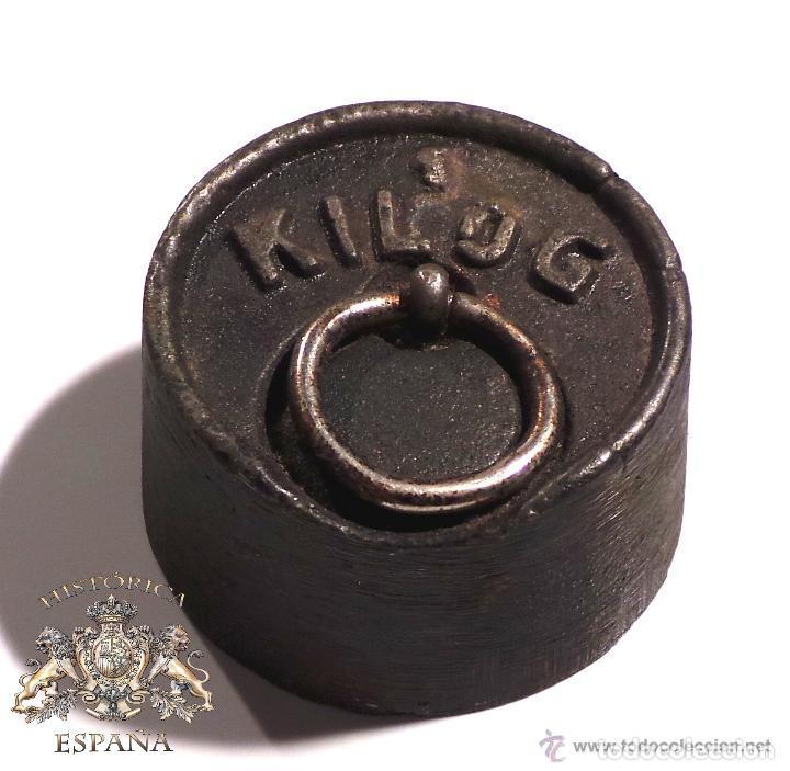 Antigüedades: PESA DE 1 KILO CON SELLO CIMAS DE VALENCIA EN LA BASE - MUY RARA - Foto 3 - 83331836