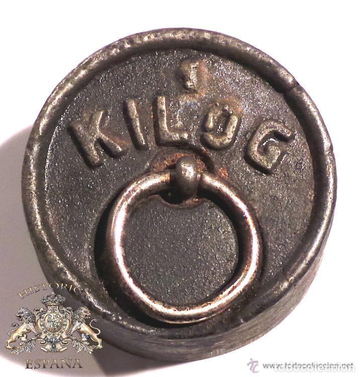 Antigüedades: PESA DE 1 KILO CON SELLO CIMAS DE VALENCIA EN LA BASE - MUY RARA - Foto 5 - 83331836