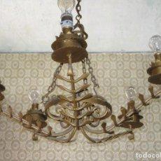 Antigüedades: PRECIOSA LAMPARA DE TECHO ANTIGUA DE FORJA. Lote 83428372
