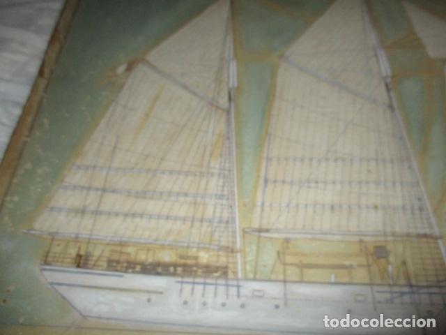 Antigüedades: Antiguo poster, plano de un barco pegado encima de una madera. MARS 1943 - Marine Models RH PARIS - Foto 2 - 84126192