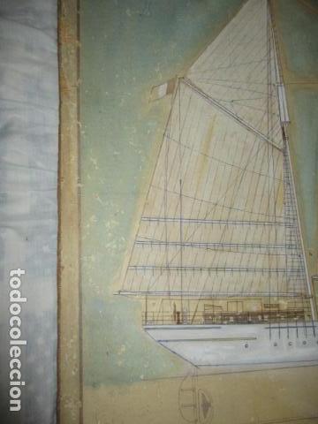 Antigüedades: Antiguo poster, plano de un barco pegado encima de una madera. MARS 1943 - Marine Models RH PARIS - Foto 4 - 84126192